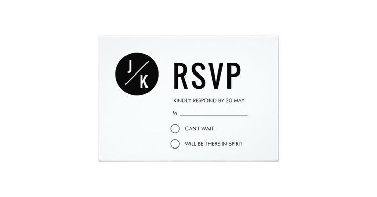 Simple modern wedding RSVP card - black circle
