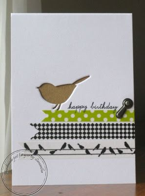 Bird is die cut and kraft paper behind, some washi tapes and a brad - such an interesting card.