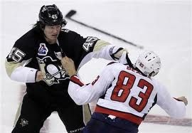 Arron Asham's famous two blow knock out of Washington Capital's Jay Beagle in October 2011.  Heaven above me, earth below me, fire within me.