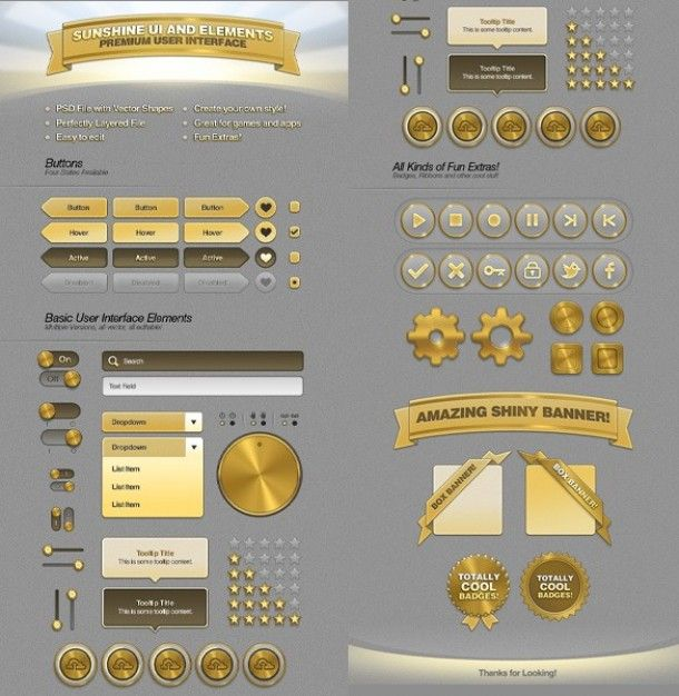golden ui kit psd freepik