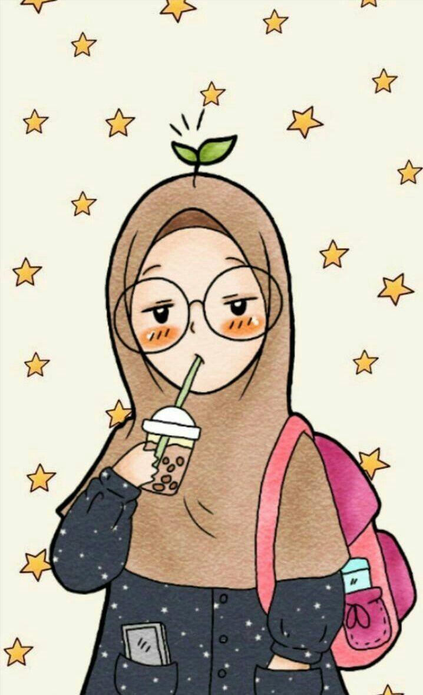 Hijab Ilustrasi Karakter Kartun Ilustrasi
