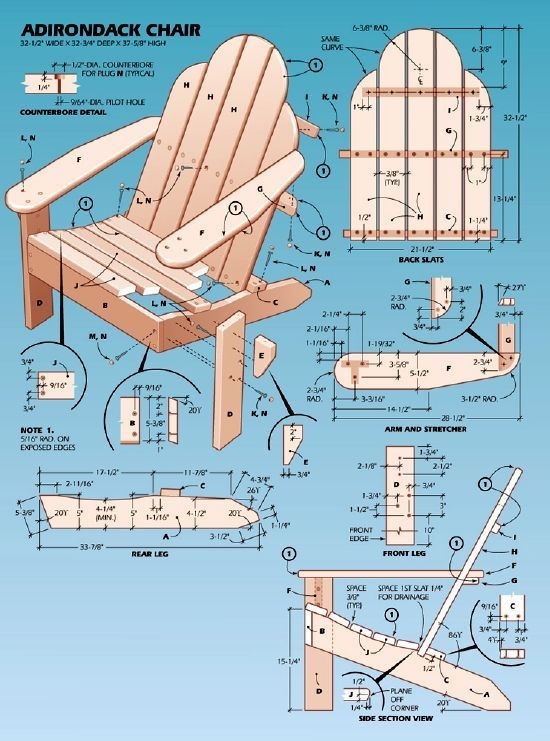 Popular Mechanic Adirondack Chair Plan. Does someone want to make me one (or more) of these as a present :)