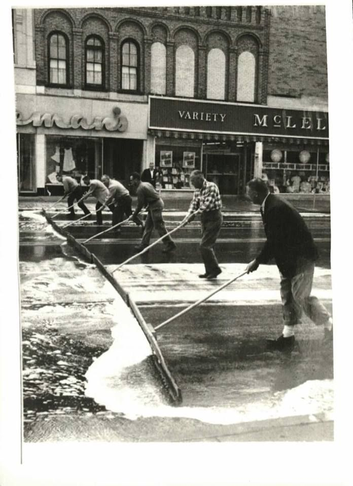Downtown Greenville, Michigan Street Cleaners, Circa 1950.