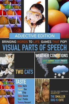 Adjectives Lesson. Adjective Lesson. Grammar Lesson. Homeschool English. Parts of Speech. Elementary ESL Homeschool Sub Plan. This is a teacher led visual powerpoint adverb lesson that illustrates the use and purpose of adjectives providing many visual examples of adjectives.