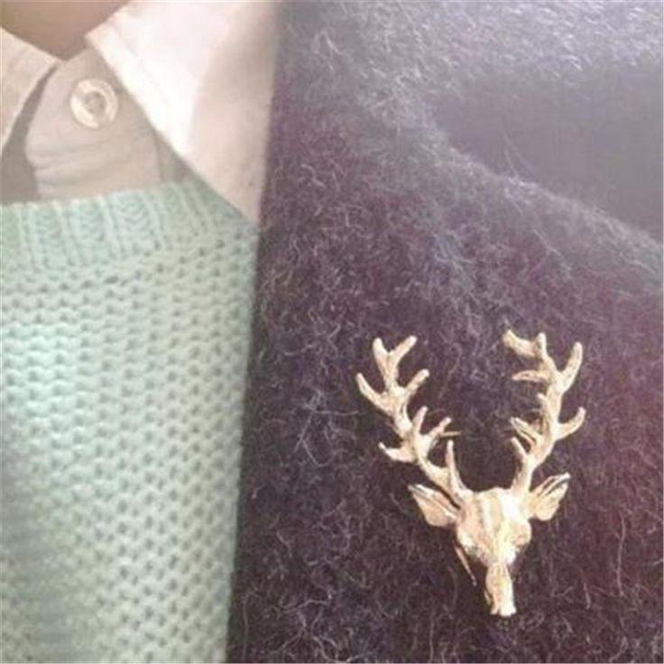 Горячая распродажа популярные женщины мужчины милые животные золотой цвет рога оленя шпильку броши укладка ювелирный рождественский подарок CC2515 купить на AliExpress