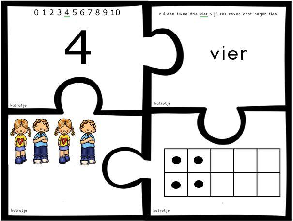 Al puzzelend cijfers samen brengen van katrotje