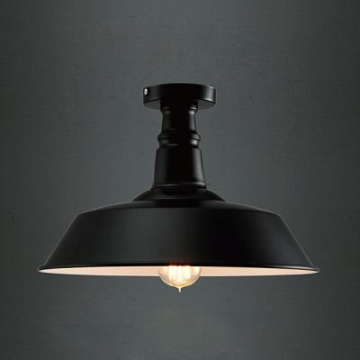 Chic and Elegant Black Industrial Wrought Iron Semi-Flush Mount Ceiling Light