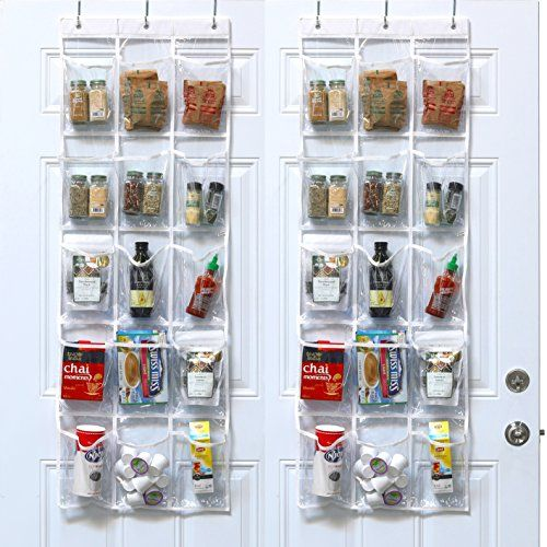 2 Pack - SimpleHouseware Crystal Clear Over the Door Hanging Pantry ...