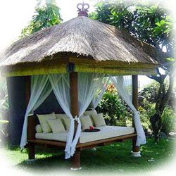 Bali gazebo - The Balinese gazebo lends an exotic tropical vibe to your backyard.