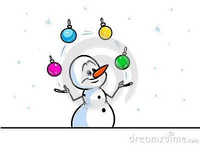 Christmas snowman character juggler balls cartoon illustration isolated image