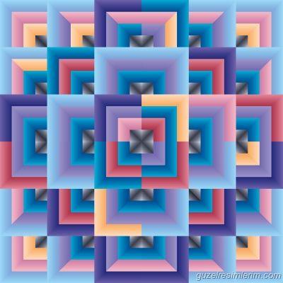 Pink Blue Abstract - Resim dersi için, farklı geometrik resimler var mı?