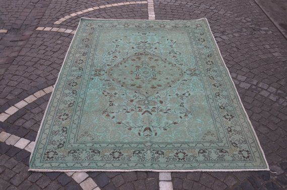 Overdyed Green carpet. Vintage handmade rug. Turkish carpet. Free shipping. 7.2 x 5 feet. (2.22 x 1.55 cm)