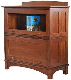 "Amish Outlet Store : 38"" 2 Piece Barrister Bookcase in Oak"