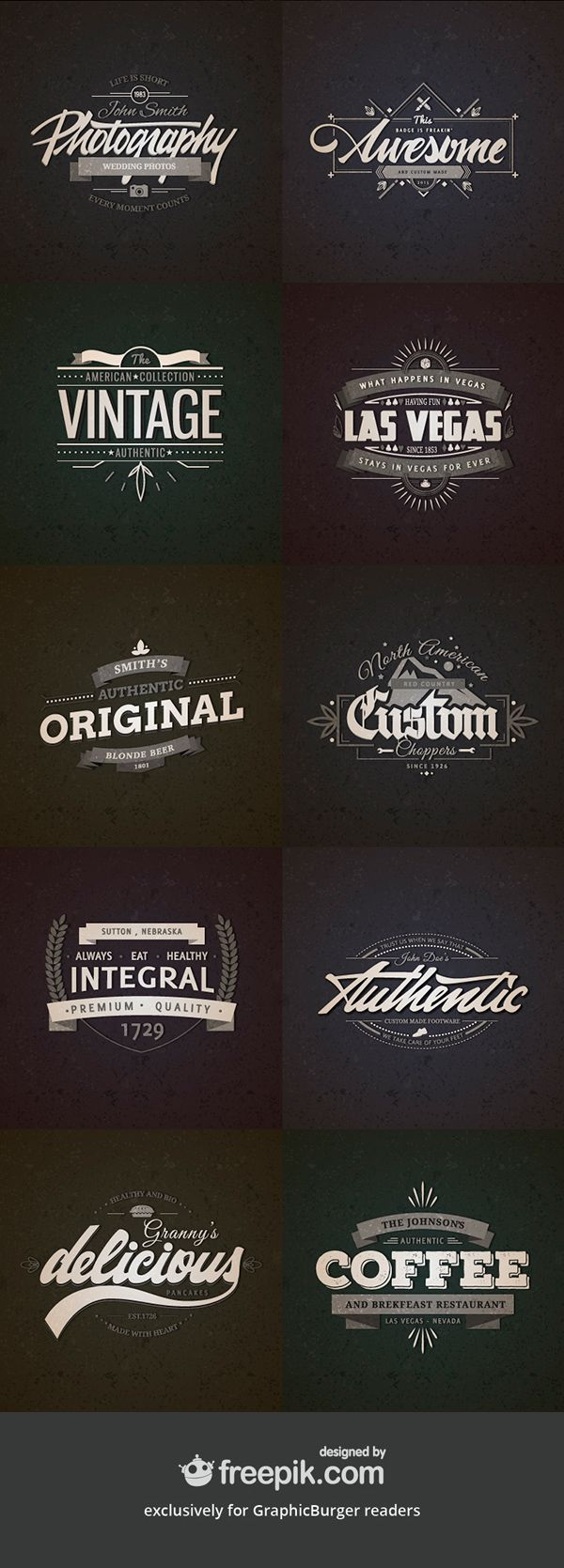 I'm happy to share with you this premium quality collection of 10 retro vintage badges created by freepik exclusively...