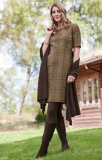 Tweed pure wool Dress in loden country from House of Bruar. £140