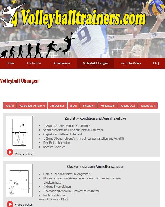 Einfach ,schnell und kostenlos  ein Volleyball Training erstellen mit 32 Volleyball-Übungen,  eingeteilt in 8 Kategorien