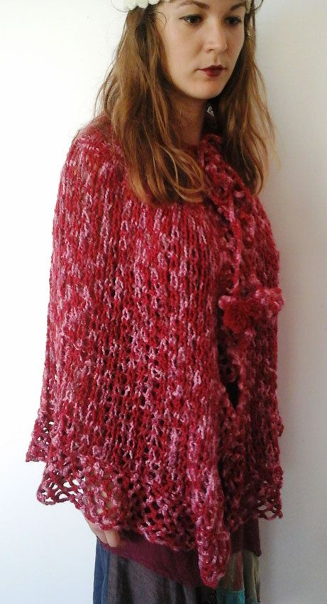 Stylish crocheted red cape