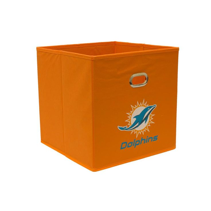 Miami Dolphins NFL Store-Its 10-1/2 in. W x 10-1/2 in. H x 11 in. D Orange Fabric Drawer, Miami Dolphins/Orange