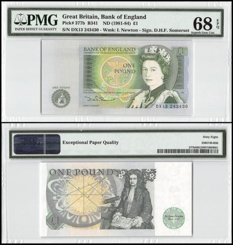 Paper Money: Great Britain 1 Pound, Nd 1981-84, P-377B, Unc, I Newton, Qeii, Pmg 68 Epq BUY IT NOW ONLY: $99.99