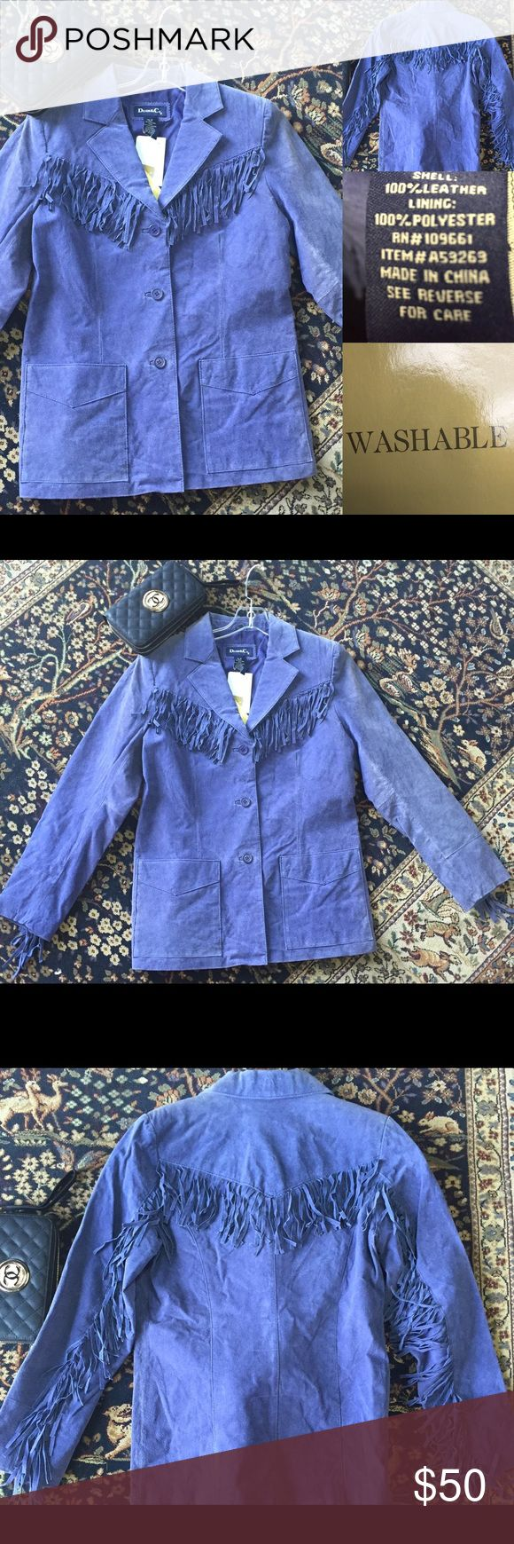 """100% Leather (suede) ---  Machine Washable!!! Make an Offer******Blue leather (suede) Fringe detailing lends southwestern flair to the front yoke, back yoke, and back of each sleeve. From Denim & Co.(R) Fashions. Fully lined, notched collar, patch pockets, front dyed-to-match buttons XS(2-4), S(6-8), M(10-12), L(14-16), XL(18-20), 1X(18W-20W), 2X(22W-24W), 3X(26W-28W) Semi-fitted; length measurements XS 27-1/2"""", S 28"""", M 28-1/2"""", L 29"""", XL 29-1/2"""", 1X 30"""", 2X 30-1/2"""", 3X 31"""" Shell 100%…"""
