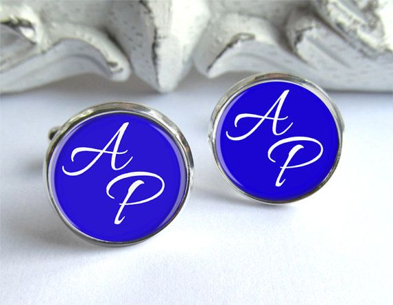 These personalized monogram cufflinks are created with the letters of your choice. The example shown in the photo is of a royal blue pair, but Im also happy to create them in your wedding colors. Great gifts for the men in your life, and perfect for wedding parties! Please let me