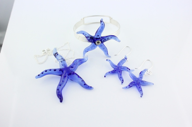 Hand Made lampwork glass Cobalt Blue Starfish Jewelry set  etsy.com/shop/tygerlilyglassworks