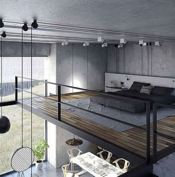 Industrial design loft floors - In this picture, there is a bedroom located on the upper floor or can be called a loft. This bedroom looks very simple #industrial_design_loft_floors #industrialdesignloftfloors #industrialdesign #industrial_design