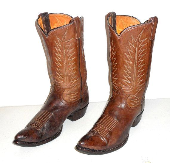 Tony Lama Cowboy Boots Mens Size 9.5 D Brown by honeyblossomstudio