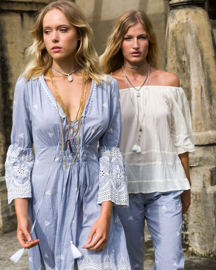Ruby Yaya | Spring Summer 2017 Gorgeous boho embroidered blue dress. Off shoulder white top. Beach Style.  #Bohemian #craft #lifestyle #handmade #embroidery