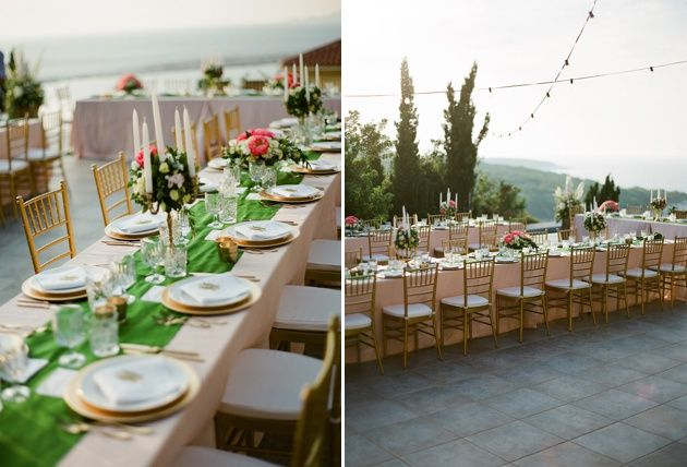 Long table reception. Green gold and blush wedding reception. Greek sunset in Kefalonia. Photo by Adrian Wood