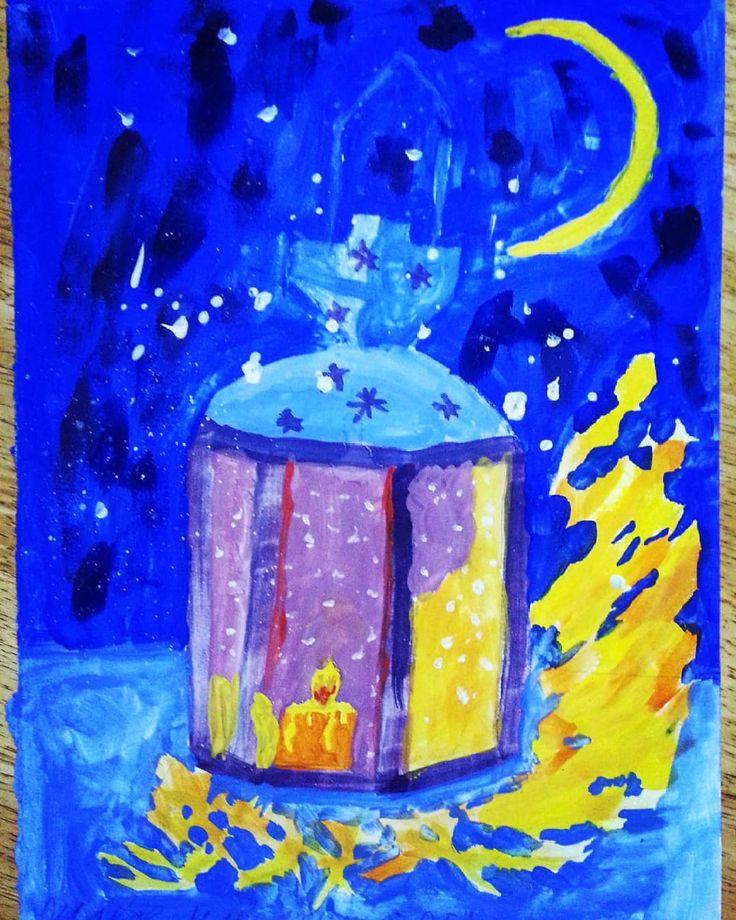 Очередной новогодний рисунок Маргариты Максимовны. Он в натуре яркий! Какие-то краски удачные купил. Забыл название..