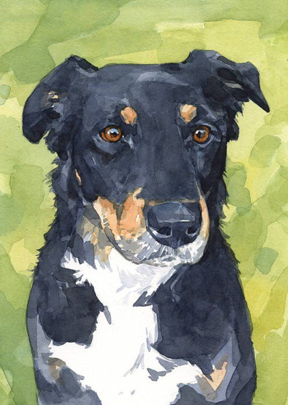 Custom Dog Watercolor Painting 5x7 Realistic Pet Portrait Animal