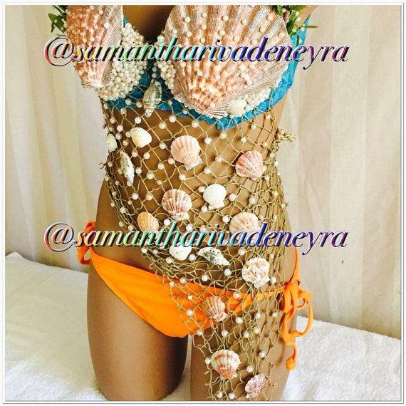 Beautiful mermaid bra with net mermaid bra by MermaidTopiaAndMore