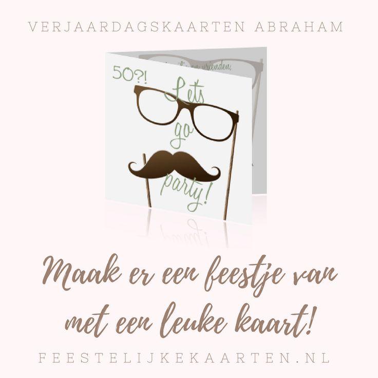 Feestje? Kaarten voor abraham zelf maken. Een uitnodiging in hipster stijl met een bril en snor voor een verjaardag van 50 jaar.