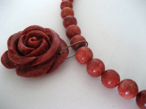 Vintage coral colored stone 18.5 inch necklace with by jeanmc, $20.00