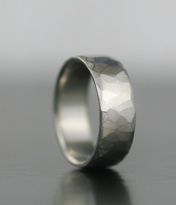 men's wedding band  palladium sterling silver faceted by lolide, $178.00