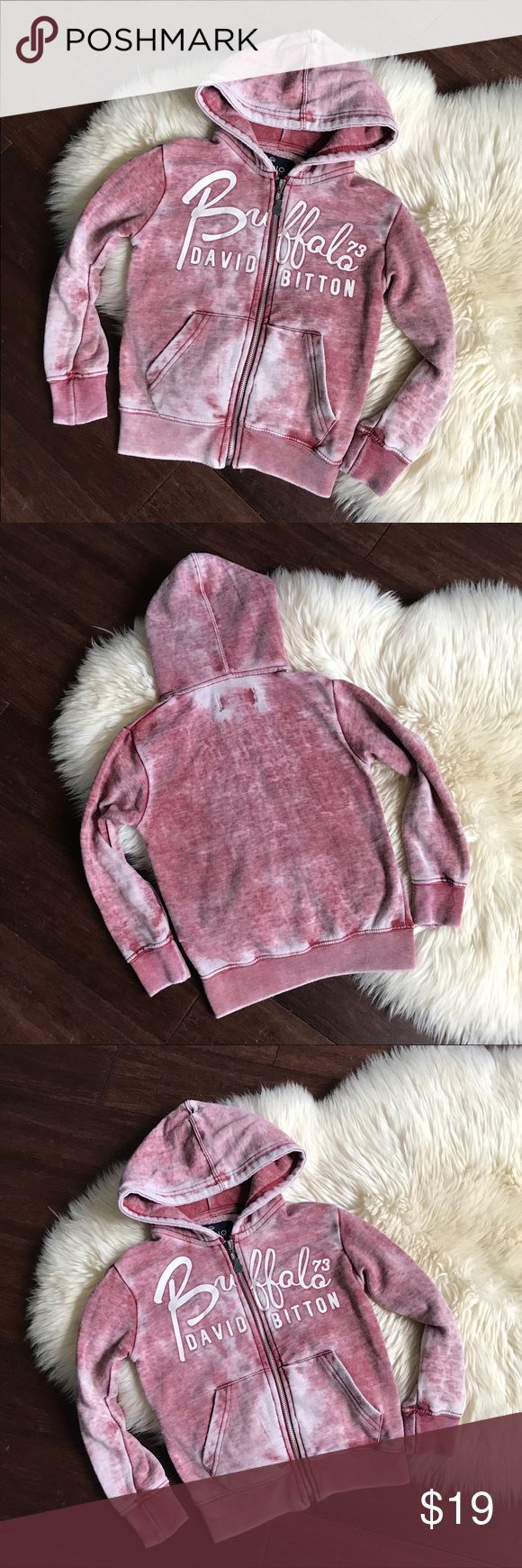 Buffalo David Bitton Distressed Full Zip Hoodie 4 Buffalo David Bitton Distressed Red Full Zip Hoodie   Soft hoodie! It was made to have the washed out distressed look! Great Condition, light pilling.   Size - 4 Buffalo David Bitton Shirts & Tops Sweatshirts & Hoodies