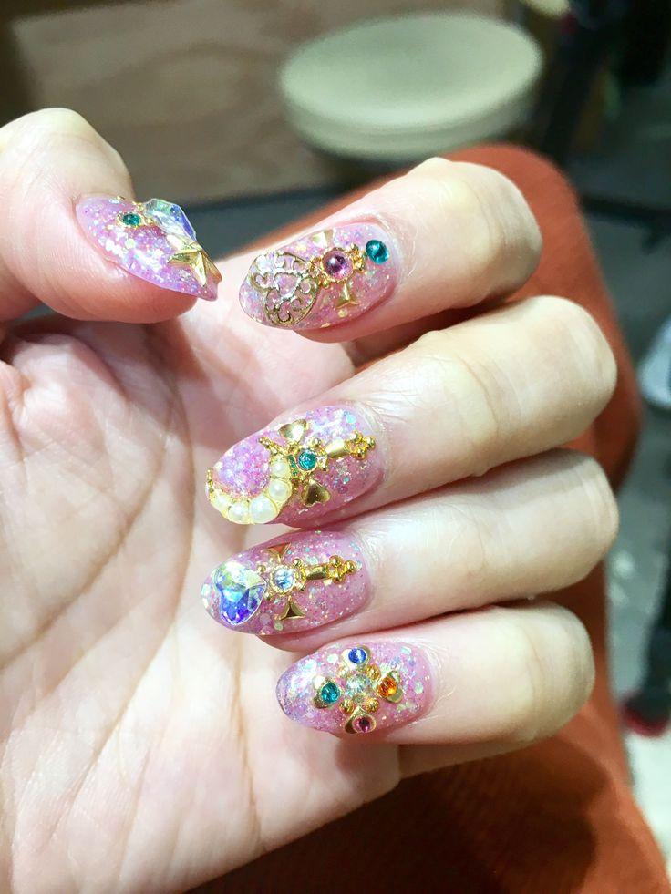 I Got A 3-Hour Japanese Manicure Inspired By Sailor Moon #refinery29 http://www.refinery29.com/japanese-manicure-crystal-nail-design