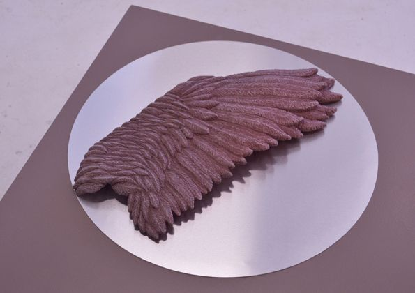 Low fired black stoneware clay wing, hand built, hand carved, 5cmx49cmx20cm