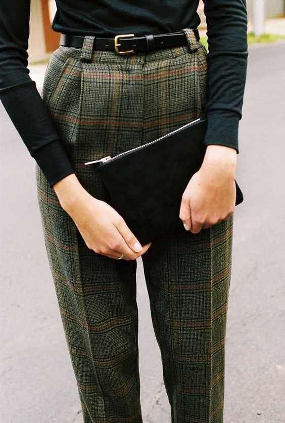 │ plaid trousers │ skinny belt │