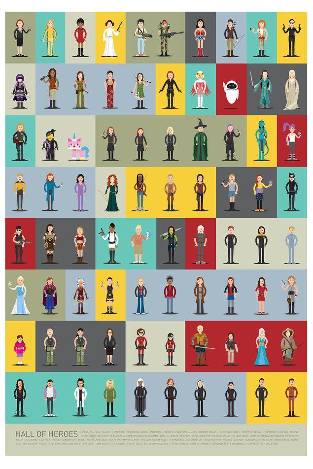 """Entre a multitude de mulleres """"floreiro"""" habituais, de cando en vez, a tele e o cine producen femias de armas tomar. Scott Park, ilustrador canadiense, reuníunas no proxecto """"Hall of Heroes""""."""