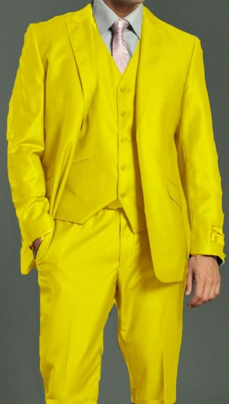 Yellow mens zoot suit. More colors like this. Mens Two Button Vested Shiny Flashy Metallic Yellow Satin Bright Glossy Face Suit $215.00 AT vintagedancer.com