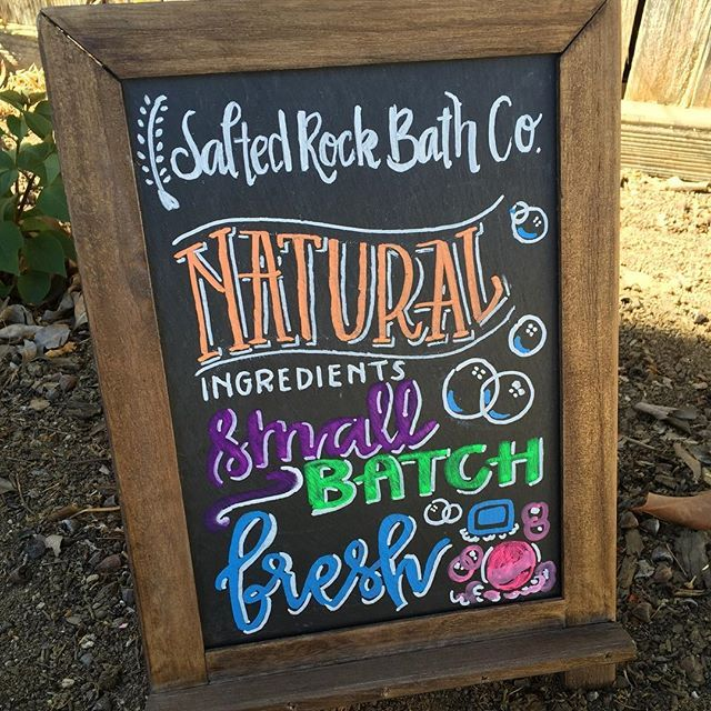 Promote your products with a chalkboard product sign.