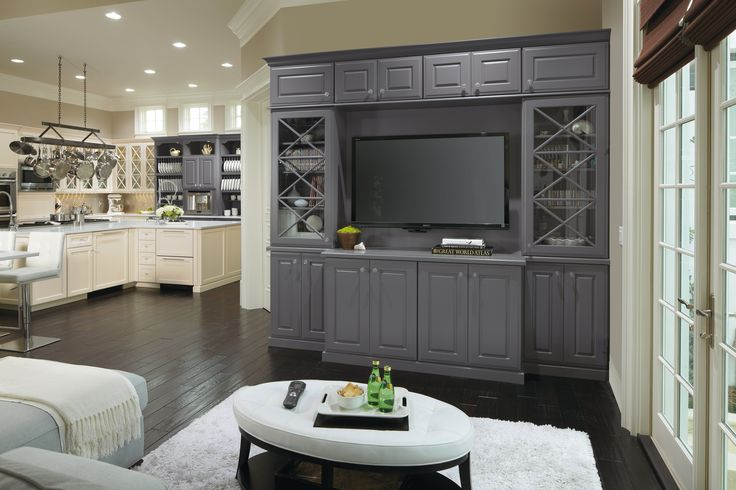 This Beautiful Entertainment Center Featuring A Custom Color By Omega Cabinetry Makes A