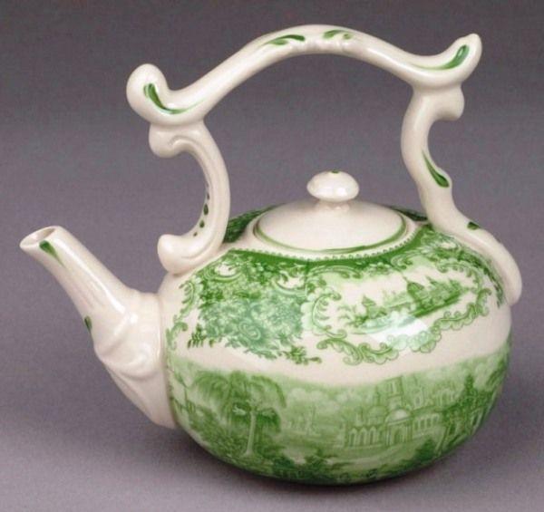 Green Porcelain Toile Mini Teapot with Castle Scene / Cyress Home Decor