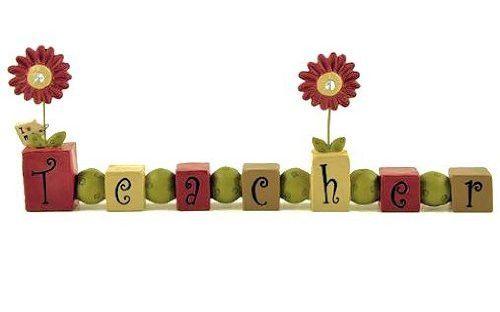 "Teacher Appreciation Gift - ""I Love My Teacher"" Bead Block with Jeweled Flowers - Free Standing Desk Sign"