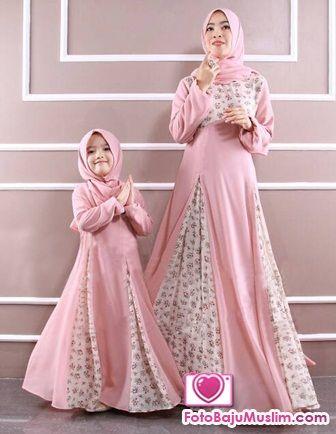 Gambar Baju Muslim Terbaru Warna Pastel untuk Ibu dan Anak