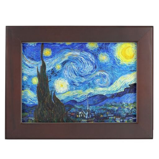 Starry Night Vincent Van Gogh painting ART Memory Box