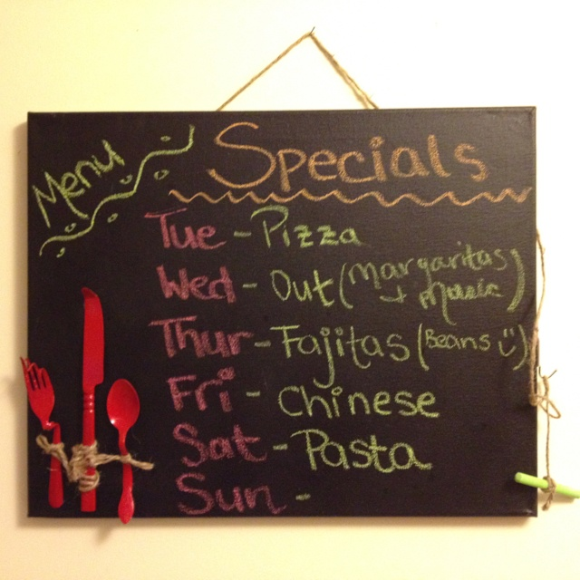 Chalkboard Made out of Canvas. We did this for a church coffee shop. It worked really well.