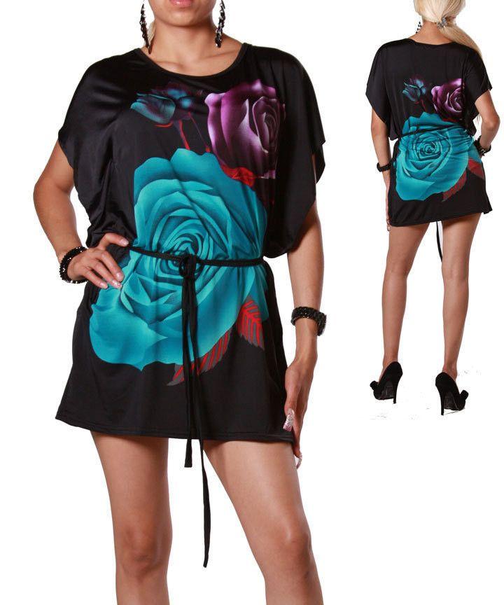 Black Blue Floral Kimono Tunic Top Mini Dress